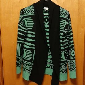 Teal and black cardigan
